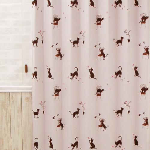 黒いネコが愛らしいピンク色のカーテン