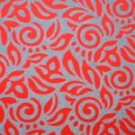 赤いダイナミックな花柄カーテン