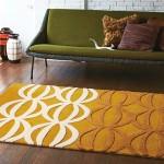 オレンジ色のレトロパターン柄ラグ カーペット