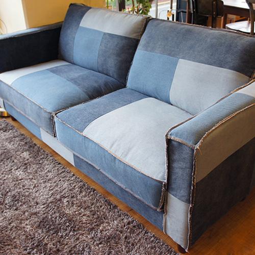 ヴィンテージデニムのパッチワークソファ