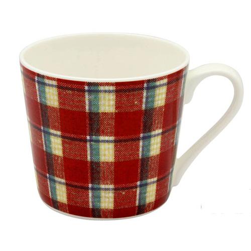 赤基調のマドラスチェック柄マグカップ