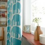 水色の象のイラスト柄カーテン