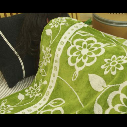 グリーンの花柄今治タオルケット