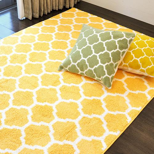 黄色の北欧デザインパターンラグマット