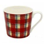 赤基調のアドラスチェック柄マグカップ