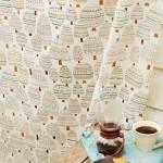 可愛い木のイラスト柄カーテン