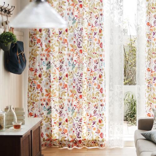 カラフルな植物のイラスト柄カーテン