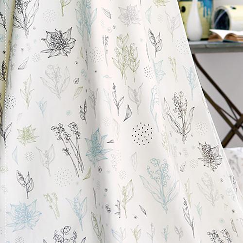 上品な花のイラスト柄北欧風カーテン