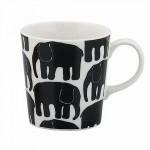象のイラストの白黒のマグカップ