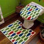 北欧風のリーフイラストパターン トイレカバー