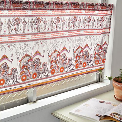 エスニックデザインのカフェカーテン