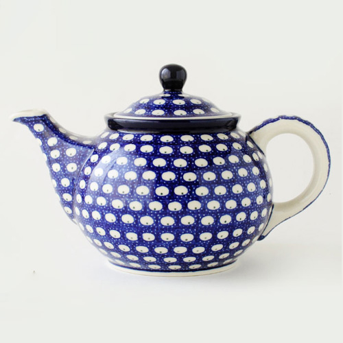 ポーランドの陶器製ドット柄ポット
