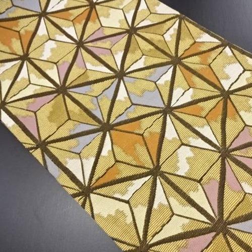 麻の葉模様織り出し袋帯