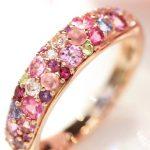 桜色マルチカラージュエル パヴェリング 指輪