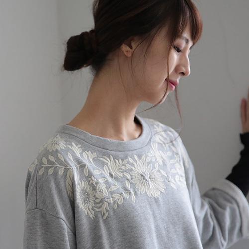 裏毛花柄刺繍ワンピース