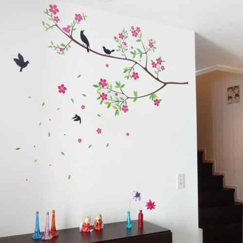 ウォールステッカー 桜と小鳥