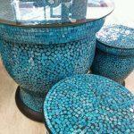 ガラスモザイク ガーデンテーブル&スツール
