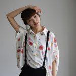 花柄ロングシャツチュニック