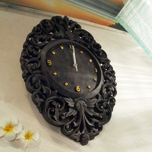 アジアンカービング時計